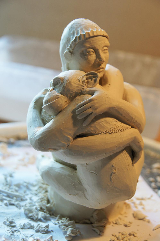Work in Progress Frau mit Affe