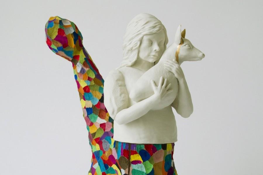 Frau mit Reh  2014  H: 35 cm